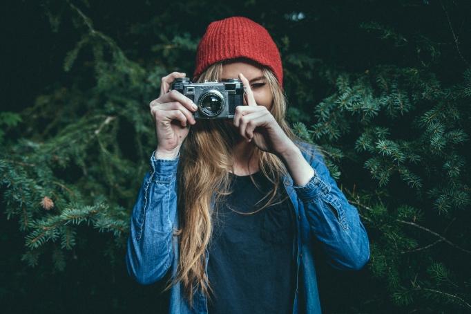 camera girl woods