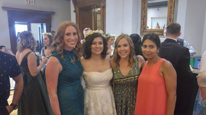 Felicia (bride) with her Mohawk friends, (l-r) Ellen Alstein, Karina Mankinen, and Jessica Stacey (Faria)